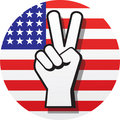 Peace Sign on Red, White and Blue Stock Photography
