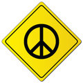 Peace sign on yellow sign Royalty Free Stock Photo