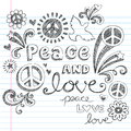 Peace Signs & Love Sketchy Doodles Vector Stock Photo