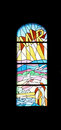 Peace, stained glass church window in the parish church of St. James in Medugorje Royalty Free Stock Photo