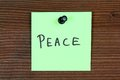 Peace sticky note with message bulletin board Royalty Free Stock Photography