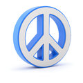 Peace symbol blue d illustration over white background Stock Photos