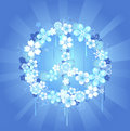 Peace symbol with flowers on a blue background Stock Photo