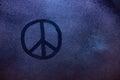 Peace symbol on fogged window Royalty Free Stock Photo