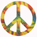 Peace symbol an isolated using tye dye background Stock Images