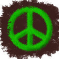 Peace symbol made of grass Stock Photo