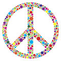 Peace symbol with polka dots illustration silhouette and colorful pattern isolated on white background Stock Image