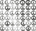 Peace symbol set of isolated stylized Stock Photo