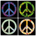 Peace symbols four colored with different elements inside Stock Images