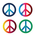 Peace symbols four with different colors and gradients Stock Photos