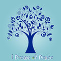 Peace tree funky with message i dream of use me as i am or move my many pieces around in vector format Royalty Free Stock Photography