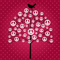 Peace tree with sings and bird over patterened background Royalty Free Stock Image