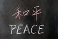 Peace word in chinese and english written on the chalkboard Royalty Free Stock Photography