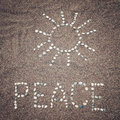 Peace Word And Sun Symbol On T...