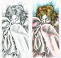 Peaceful baby sleeping on the left side pencil drawing on the right side colored drawing Royalty Free Stock Photo