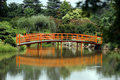 Peaceful Japanese style bridge with reflections Royalty Free Stock Images