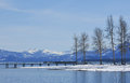 Peaceful lake tahoe in winter captured the afternoon Royalty Free Stock Photography