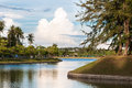 Peaceful lake in tropical town Royalty Free Stock Photo