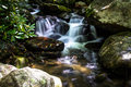 Peaceful mountain stream waterfall along a smoky great smoky mountains national park gatlinburg tennessee Stock Images