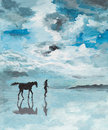 Peaceful scene man and horse running on water oil painting illustrating a a a sea shore serene Stock Images
