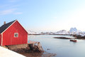 Peaceful steine traditional fisherman s cabins of the harbur of in lofoten islands Royalty Free Stock Image