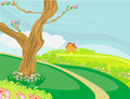 Peaceful village in spring illustration of a Royalty Free Stock Images