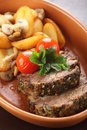 Peaces of meat with garnish Stock Image