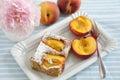 Peach almond cake home made Royalty Free Stock Photo