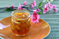 Peach apricot nectarine jam in a jar on the table Stock Images