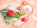 Peach color blurred christmas background with various tree decorations and bokeh effect Stock Images