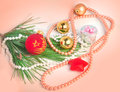 Peach color christmas background with various tree decorations Royalty Free Stock Photos