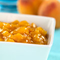Peach compote bowl full of fresh selective focus focus one third into the Royalty Free Stock Photo