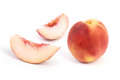 Peach fresh fruits on white background Stock Photo
