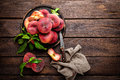 Peach, fresh peaches with leaves Royalty Free Stock Photo