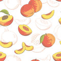 Peach fruit graphic color seamless pattern sketch illustration