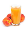 Peach fruit juice in glass isolated Stock Photo