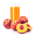 Peach fruit juice in glass isolated on white background cutout Stock Photography