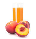Peach fruit juice in glass isolated on white background cutout Royalty Free Stock Image