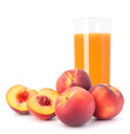 Peach fruit juice in glass isolated on white background cutout Stock Images
