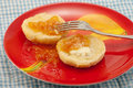 Peach Jam on Buttered Biscuit Royalty Free Stock Photography