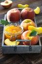 Peach jam and fresh peaches Royalty Free Stock Photo