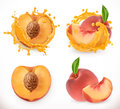 Peach juice. Fresh fruit, vector icon Royalty Free Stock Photo