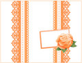 Peach Lace Gift Box, Rose and Gift Card Royalty Free Stock Images