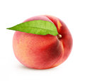 Peach and leaf white background Stock Photo