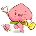 Peach mascot the left hand guides and the right hand is holding Royalty Free Stock Photo