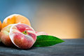 Peach on old wood Royalty Free Stock Images