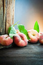 Peach on old wood Stock Photography