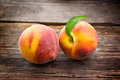 Peach organic fruit with leaf Stock Photography