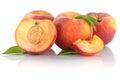 Peach peaches slice half fruit fruits isolated on white
