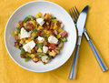 Peach salad with feta & tomato Royalty Free Stock Photography